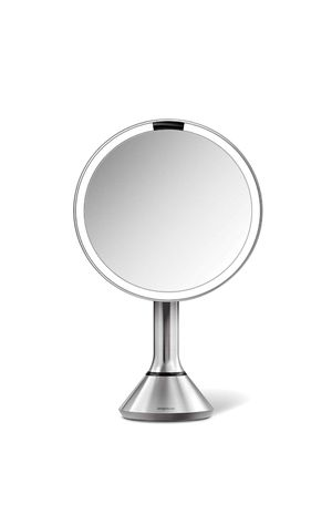 "simplehuman Sensor Lighted Makeup Vanity Mirror, 8"" Round with Touch-Control Brightness, 5X Magnification, Brushed Stainless Steel, Rechargeable and for Sale in Bell Gardens, CA"