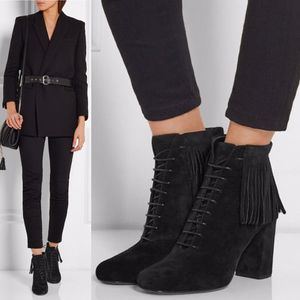 Saint Laurent 'Babies' Fringed black suede lace-up ankle boot size 40 for Sale in Redondo Beach, CA