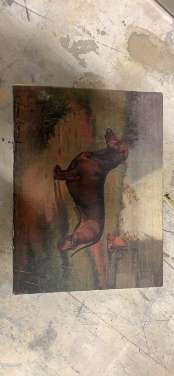 Antique dachshund print on fabric
