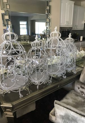 Silver rhinestone bird cage style candle holders for Sale in Tracy, CA