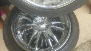 4 chrome rims with low profile tires 200 each for Sale in Stone Mountain, GA