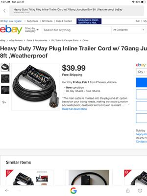 Heavy duty 7 way inline trailer cord for Sale in Indianapolis, IN