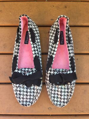 SPERRY TOP-SIDER BLACK & WHITE HOUNDSTOOTH SEQUIN BALLET FLAT BOW SHOES 8 1/2 M for Sale in Puyallup, WA