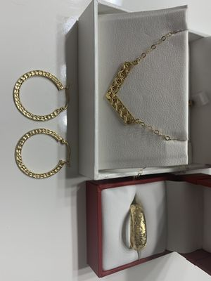 Yellow gold necklace, ring and earrings for Sale in Winfield, IL