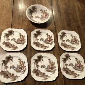 Johnson brothers, The Old Mill, 6 Square Plates & 1 Serving Bowl for Sale in South Hill, WA