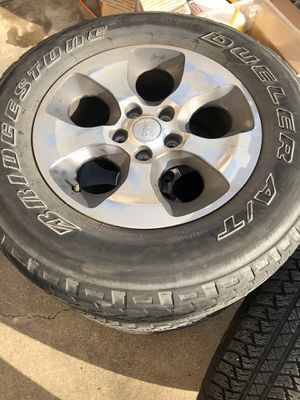 """2016 Jeep Wrangler """"18 Sahara wheels and tires x5 for Sale in Lewisville, TX"""