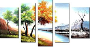(Free Shipping) FLY SPRAY 5-Piece 100% Hand Painted Oil Paintings Four Seasons Landscape Panel for Sale in Lexington, KY