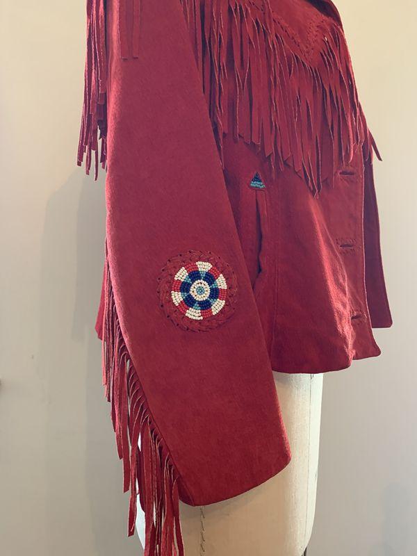Red Leather Fringe Jacket / Size M / 10
