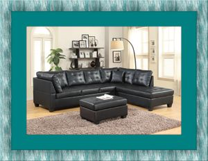 Black sectional with free ottoman and delivery for Sale in Alexandria, VA