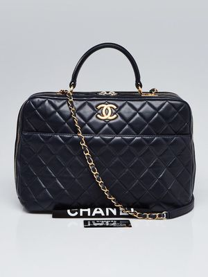 CHANEL Navy Blue Quilted Lambskin Leather Large Trendy CC Bowling Bag for Sale in San Francisco, CA