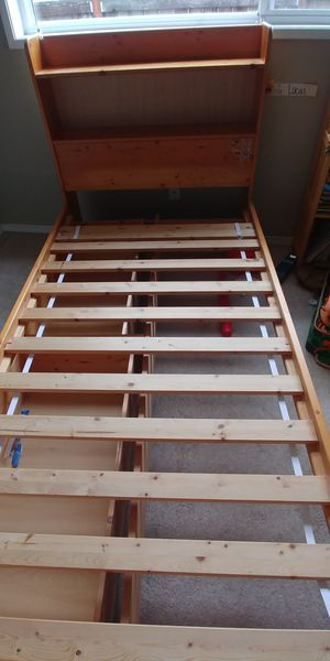 Twin bed frame and night stand (solid wood) for Sale in Woodway, WA