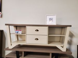 TV Stand for TVs up to 70, Dark Taupe and Ivory for Sale in Santa Fe Springs, CA