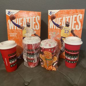 Starbucks Coffee Cup And Lebron Wheaties for Sale in Las Vegas, NV