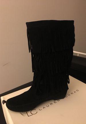 Black Fringe Boots size 7 for Sale in Wilmington, DE