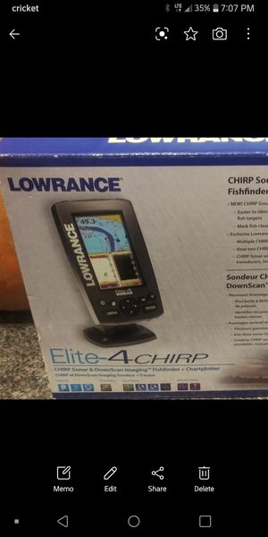 Lowrance Elite 4 chirp sonar/ fish finder/ chartplotter for Sale in Fayetteville, AR