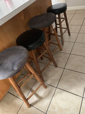 4 used stools. $10 all 4. Tiny splash paint on them. 2 are leather still good. Can use a little cleaning. I can do 20 on the table or best offer. for Sale in Portland, OR
