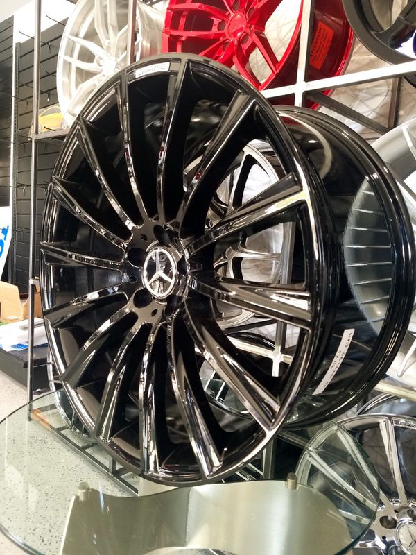 19x8.5 gloss black Mercedes amg style wheels fits s class and e class rims