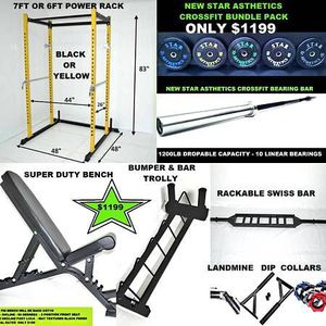 CROSSFIT POWER RACK BUMPER PLATES BENCH BAR & ACCESSORIES BUNDLE for Sale in Queens, NY