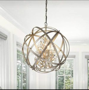 "16"" x 18"" 4 Light Metal Globe Chandelier Crystal Brushed Champagne for Sale in Grand Prairie, TX"