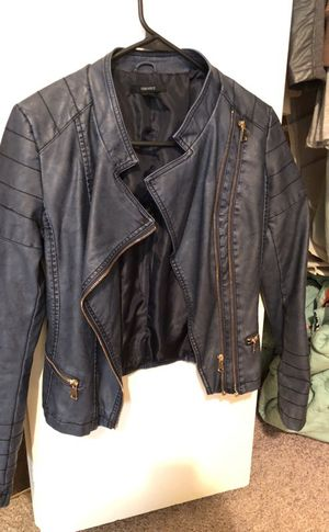 Navy blue faux leather jacket for Sale in Chicago, IL