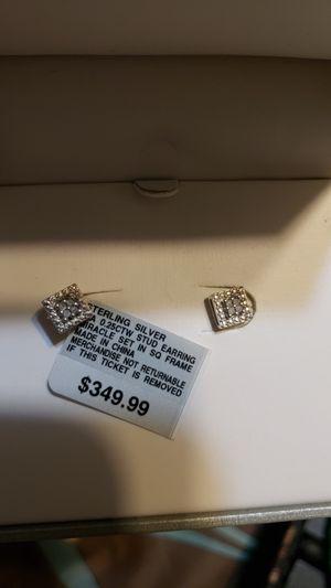925 silver diamond earrings for Sale in Boston, MA