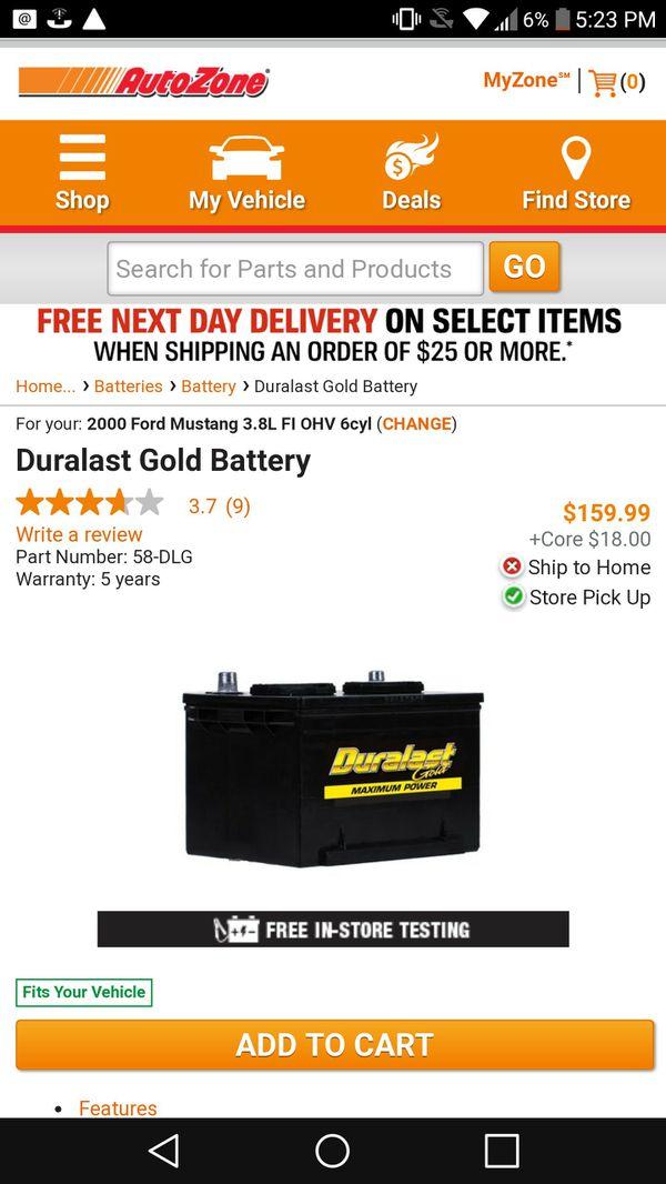 New Duralast Gold 58-DLG Battery 4 yr warranty with receipt for Sale in San  Bernardino, CA - OfferUp