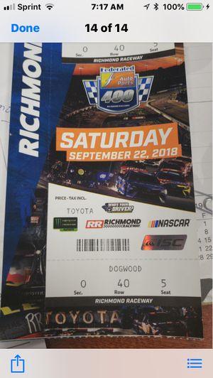 NASCAR tickets (2) for Sale in Manassas, VA