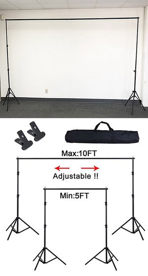New in box $30 Adjustable Backdrop Stand (6.5ft tall x 10ft wide) Photo Photography Background w/ Carry Bag & 2 Clip for Sale in South El Monte, CA