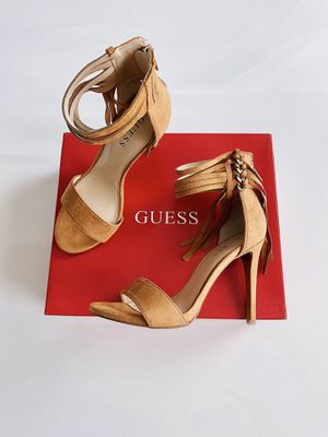✨New GUESS Cayce Faux Suede High Heel Fringe Sandals Womens Shoes Size 7M Tan for Sale in Sugar Land, TX