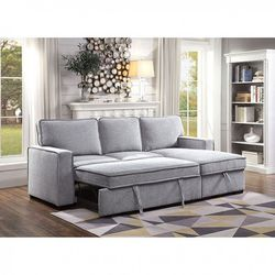 GRAY LINEN LIKE FABRIC REVERSIBLE SECTIONAL SOFA STORAGE CHAISE ADJUSTABLE BED COUCH - SILLON CAMA for Sale in Bell Gardens,  CA