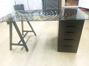 IKEA Glass top desk w/ 5 drawer file cabinet for Sale in Poway, CA