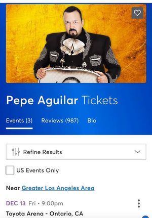 Concert Tickets - Pepe Aguilar for Sale in Corona, CA