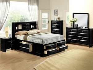 No credit needed black queen size 5pc bedroom set for Sale in College Park, MD