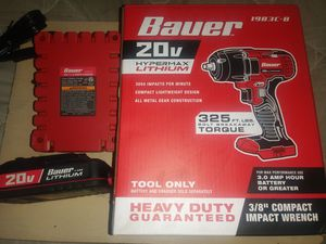 Bauer 20v Hypermax Lithium 3/8 Compact Impact Wrench 1983c-b for Sale in Oklahoma City, OK