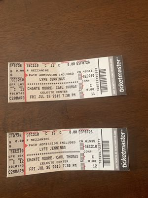 2 tix for Lyfe Jennings/Carl Thomas/ Chante Moore PLUS Fair Admission Tomorrow for Sale in Columbus, OH
