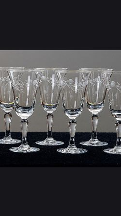 Etched Dot And Vine Sherry Glasses Set Of 8 for Sale in Lexington,  KY