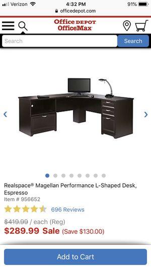Office Depot espresso desk with hutch and Costco executive chair for Sale in Atascadero, CA
