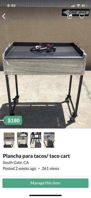 Taco cart new with connection and cast iron grill for Sale in South Gate, CA