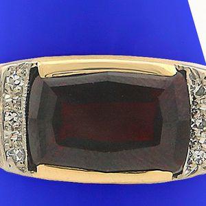 U3718 MENS DIAMOND GARNET RING 3.56CT WEDDING BAND 14K YLW GOLD for Sale in San Diego, CA