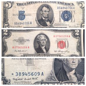 1934 D $5 Cutting Error Bill! Silver Certificate, 1953 $2, 1957 A Star Replacement Note - Nice Group! for Sale in St. Charles, IL