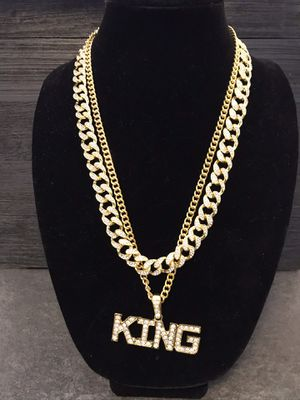 Bling Combo Set/KING Swarovski Glass Crystal Necklace and Hip Hop Iced Out Full Pave Gold CZ Necklace for Sale in Riverside, CA