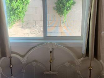 Antique iron gold shabby chic bed frame and 2 accompanying shelves, moving and URGENT sale! Must go by 02/14 evening for Sale in Glendale,  CA