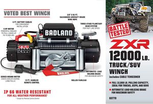 Winch-Badland ZXR-12000 lb.: IP 66 Weather Resistant Off-Road Vehicle Electric Winch with Automatic Load-Holding Brake. for Sale in Kansas City, MO