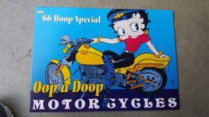Betty boop tin biker motorcycle sign for Sale in Los Angeles, CA