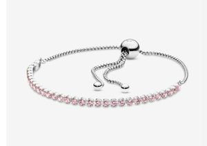 New silver sparkling strand pink cz pandora bracelet for Sale in Philadelphia, PA