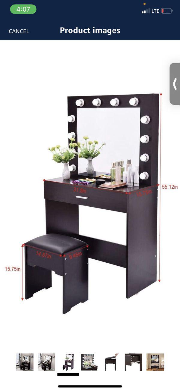 Vanity Set with Large Drawer for Women Makeup 12 LED Bulbs Lighted Mirror Cushioned Stool Table Dresser Desk for Bedroom (Black Walnut Vanity)