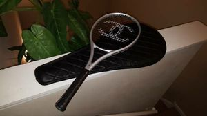 Brand New Coco Chanel CC Silver and Black Tennis Racket w/ Case for Sale in Aurora, IL