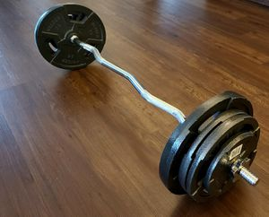 Curl bar with 100lbs weight set for Sale in Bothell, WA