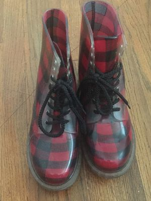 Red/Black checkered rain boots for Sale in San Diego, CA