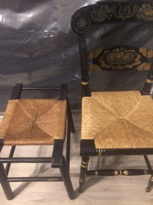 Antique Hitchcock Style Chair w/ Stool for Sale in Portsmouth, VA